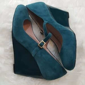 Vince Camuto Teal Mary Jane Wedge Suede 9